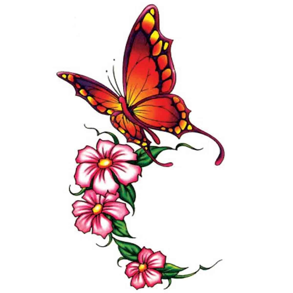 Tatoo temporaire papillon et fleurs roses - Papillon fleur ...