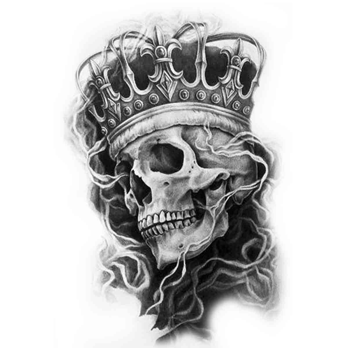 tatoo temporaire king skull. Black Bedroom Furniture Sets. Home Design Ideas