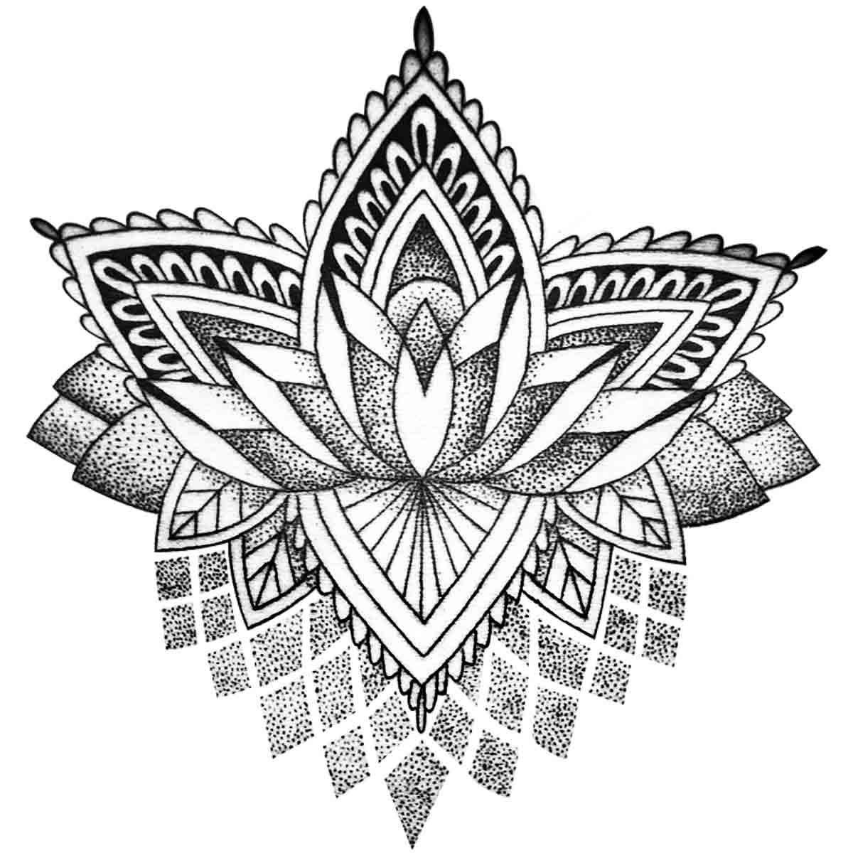 Tattoo temporaire mandala lotus stylis - Fleur de lotus mandala ...